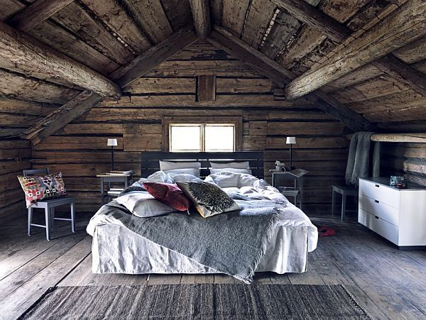 attic bedroom with wood walls
