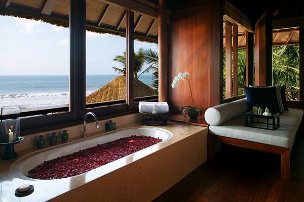 beach house contemporary bathroom with bathtub