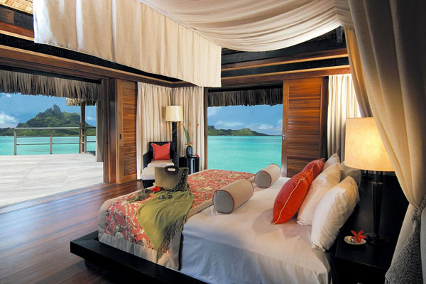 beach villa bedroom with ocean view