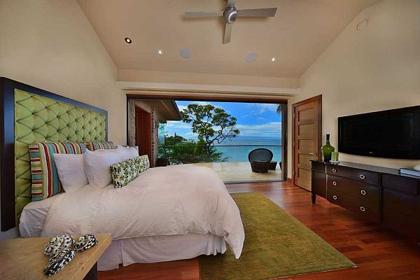 beachside bedroom with ocean views in maui