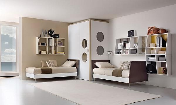 beige modern shared bedroom