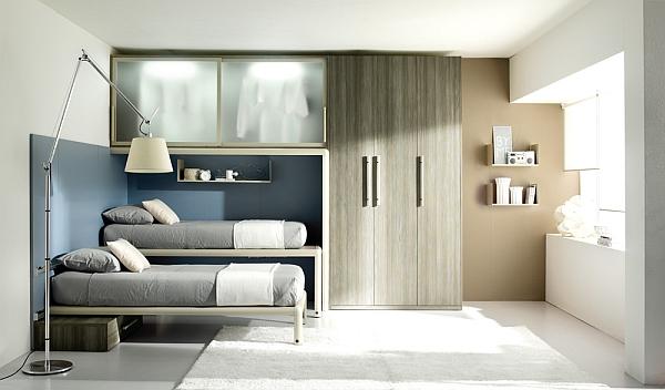 blue shared bedroom for kids
