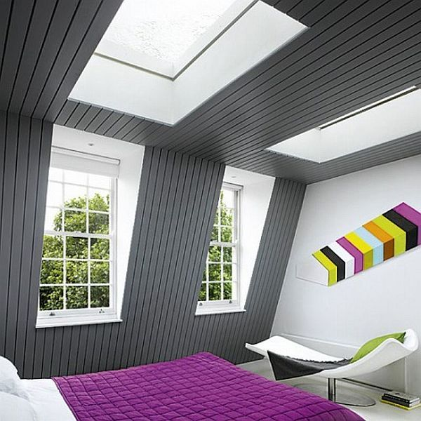 colorful attic bedroom design