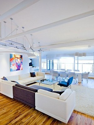 colorful loft apartment contemporary living room