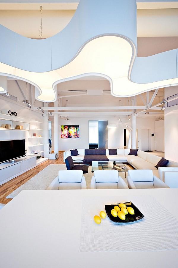 colorful loft apartment design shapes