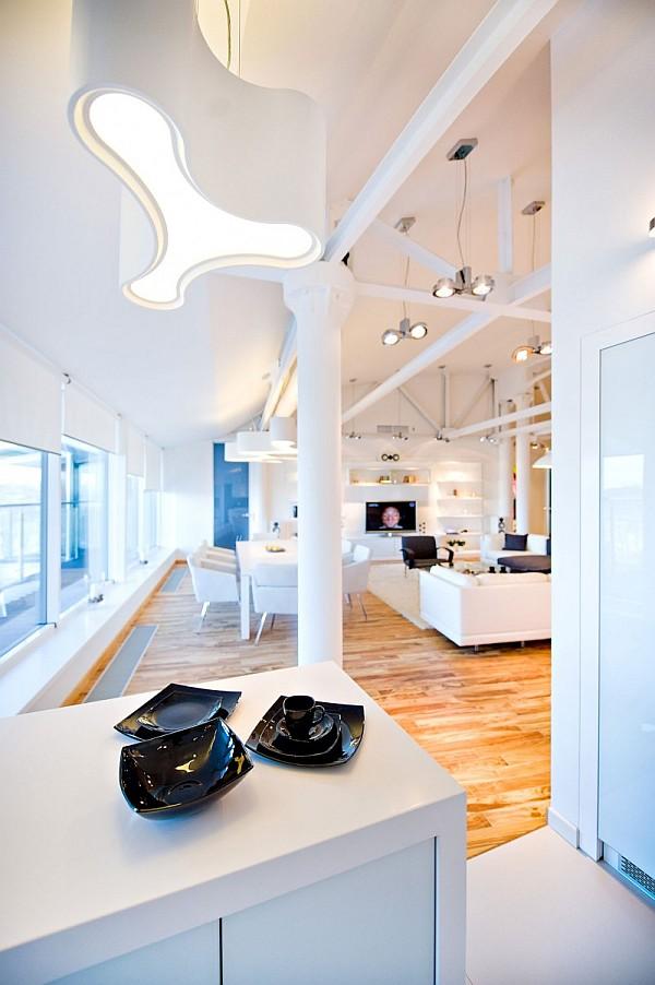 colorful loft apartment dining room space design