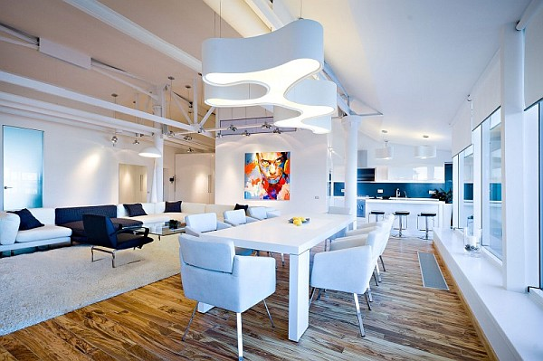 colorful loft apartment dining space design