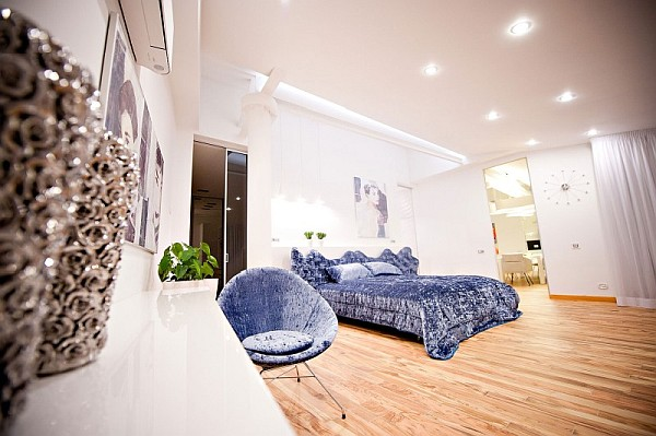 colorful loft apartment fancy bedroom decoration