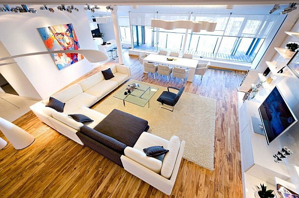 colorful loft apartment large living room