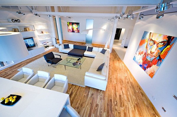 colorful loft apartment living room in chisinau