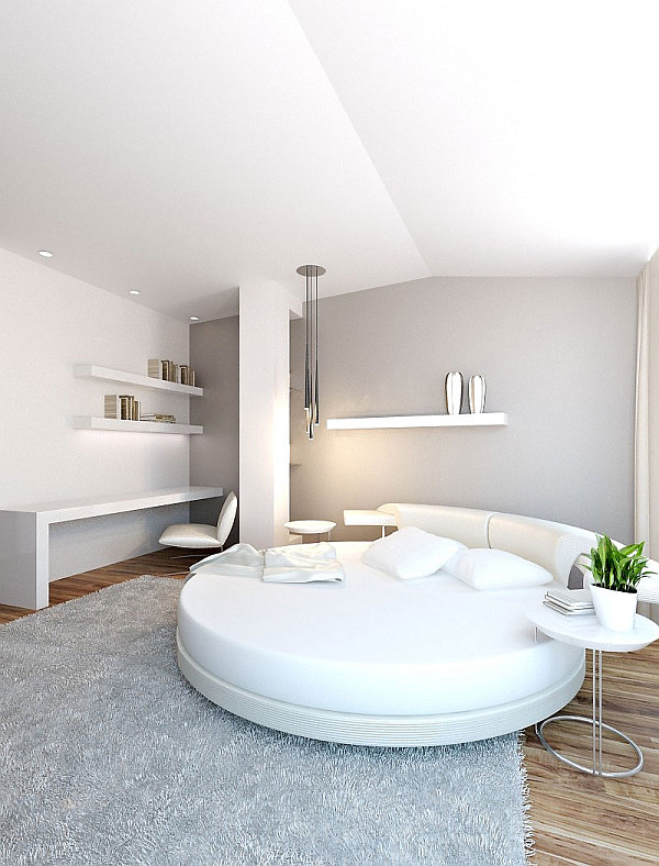 colorful loft apartment white bedroom