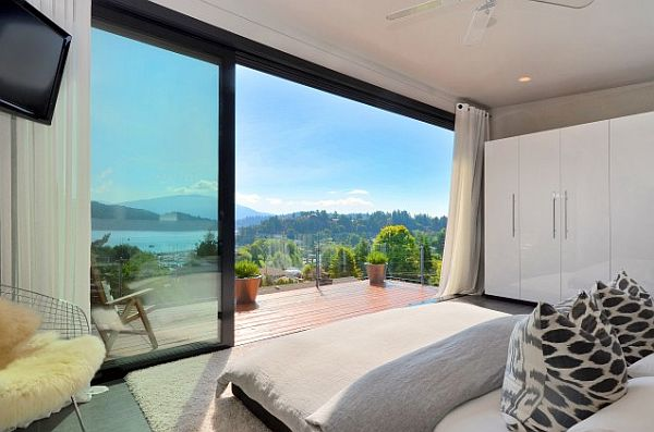 contemporary bedroom with amazing views