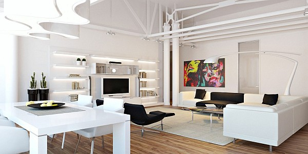 contemporary colorful loft apartment living area