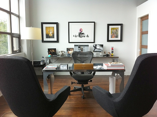 20 home office decorating ideas for a cozy workplace for Nice office decor