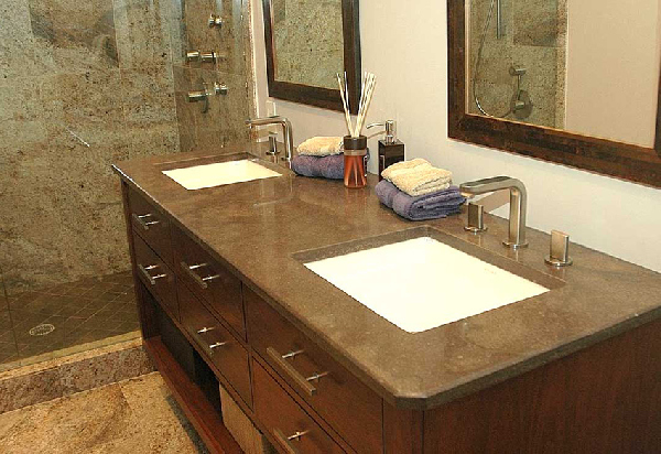 Creme Marfil Marble Bathroom Countertop Although