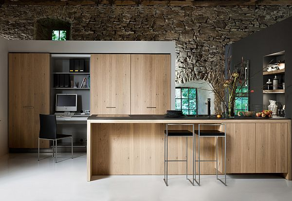 living kitchen design oak furniture Living Kitchen Offers Refined Living Experience