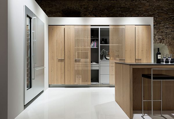 living kitchen design with enclosed office