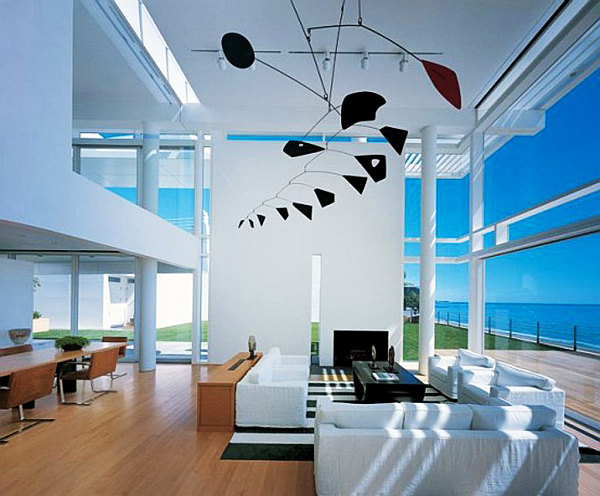minimalist beach house living interior
