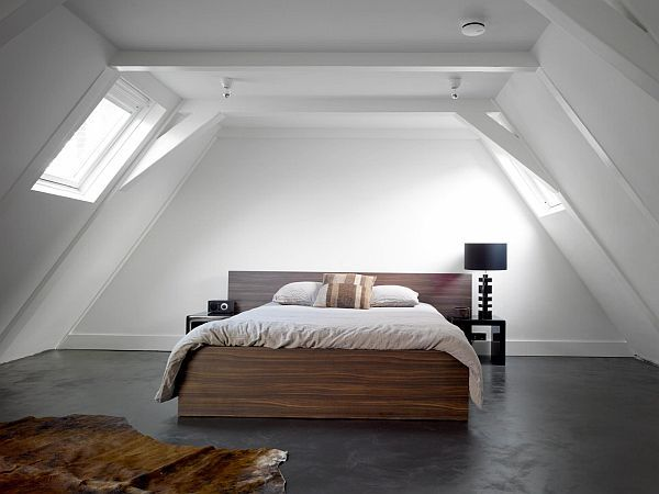 minimalist bedroom in the attic