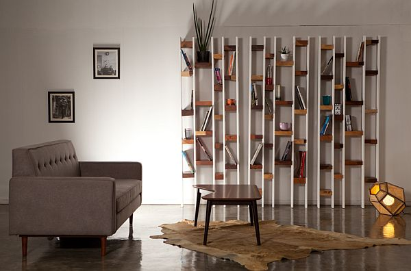 modern bookcase design from recycled wood