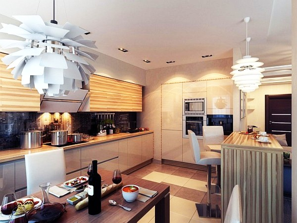 Modern chic kitchen lighting for Modern kitchen lighting design
