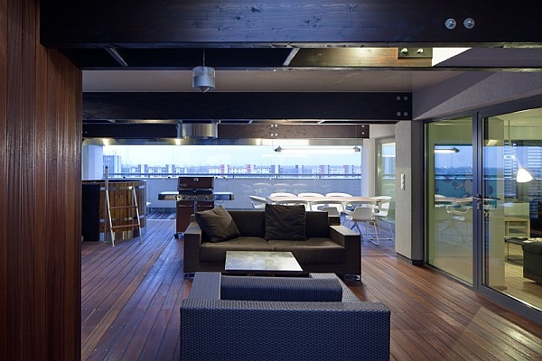 modern flat in Bratislava with wooden decks and walls