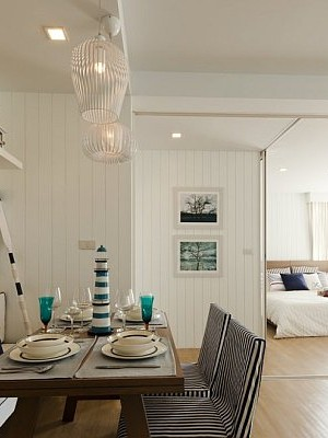 nautical dining room with blue and white