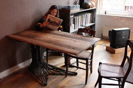 Oak Tree Table Made of Steel: Fancy Addition For Your Home