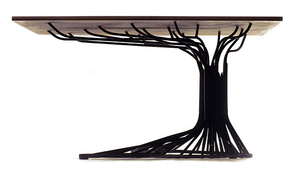 Delightful Oak Tree Table Made Of Steel: Fancy Addition For Your Home
