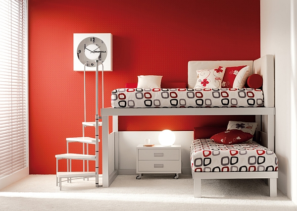red shared bedroom for teenagers