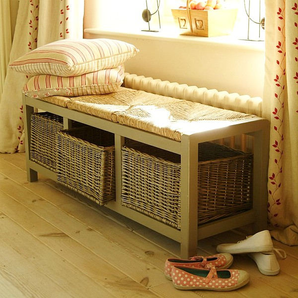 Storage bench with wicker baskets decoist Bench with baskets