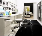 ultra modern white home office with Apple products