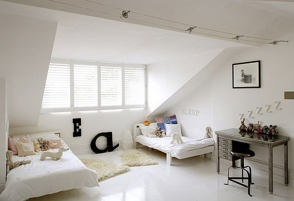 White Attic Bedroom Idea Modern Cool U0026 Fancy Functional: 32 Attic Bedroom  Design Ideas