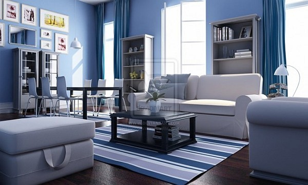 white blue nautical living room