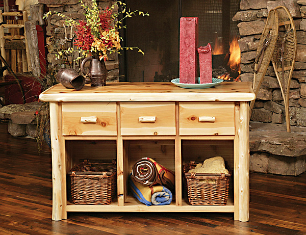 wooden desk with Wicker baskets for storage