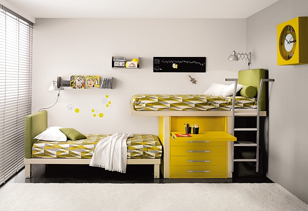 yellow and green Shared Bedroom Styles Ideas