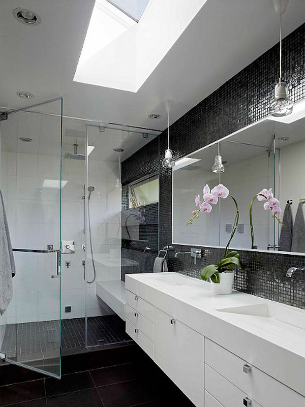 1950s House Renovation - luxury bathroom design in grey and white