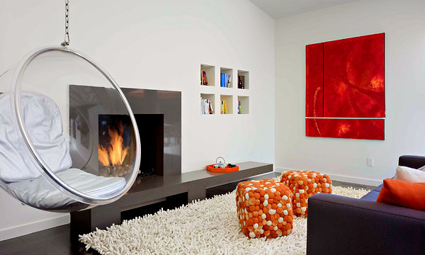 1950s House Renovation - modern living room with fireplace