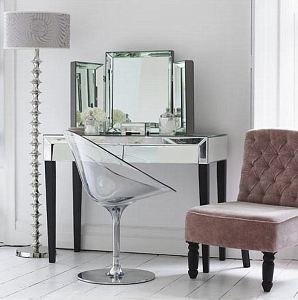 for a thin legged look try the barcelona mirrored dressing table set