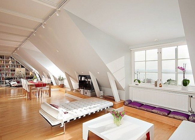 Attic Penthouse Has White Charm, Reminds of Fairy Tales