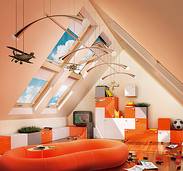 20 playroom design ideas for Room design roof