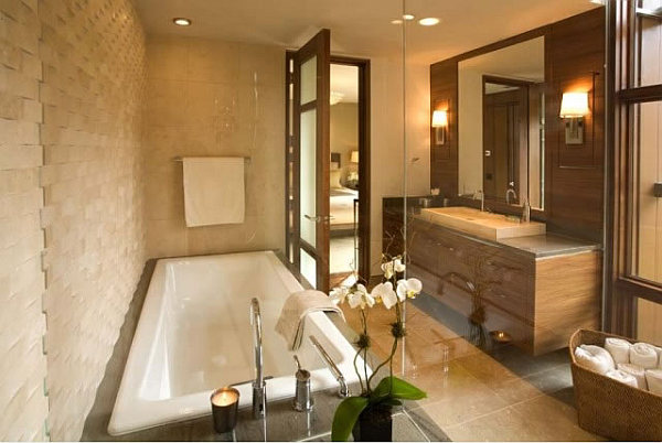 Barker Residence Sun Valley – contemporary bathroom with granite & wood