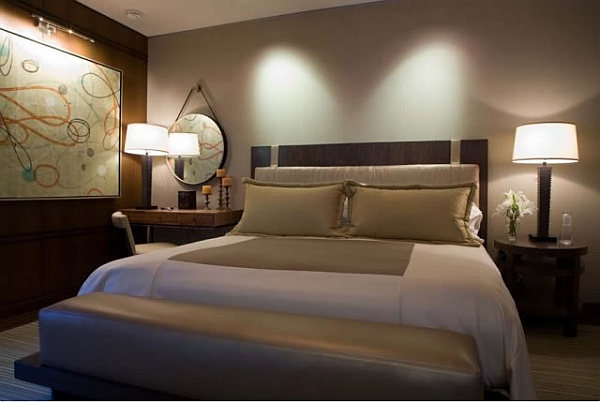 Barker Residence Sun Valley – cozy bedroom with headboard design idea