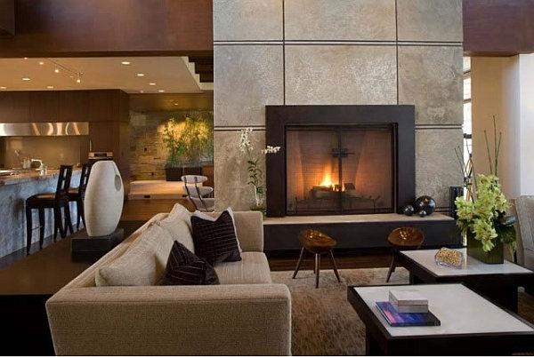 Barker Residence Sun Valley – living room fireplace