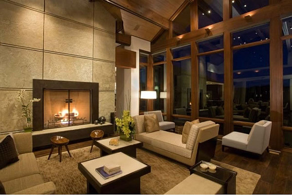Barker Residence Sun Valley – living room with modern furniture