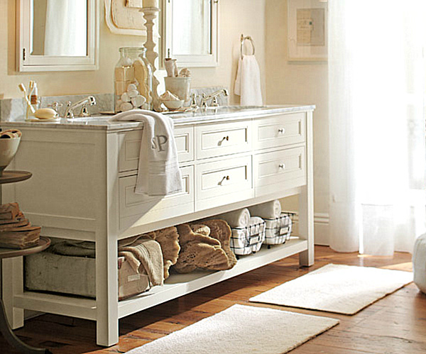 another bathroom storage solution from pottery barn offers room for