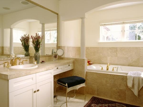 Original Bathroom Vanities With Makeup Area Bathroom Traditional With Additions