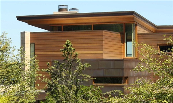 Calkins Point Residence 2 wooden exterior surface Creative and Contemporary: Calkins Point Residence on Mercer Island
