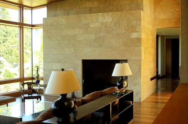 Calkins Point Residence 9 - living room design with granite walls