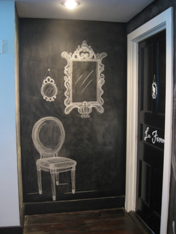 chalkboard paint in the entryway